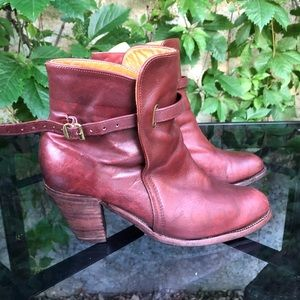 Reddish brown Frye leather booties 8.5 US made